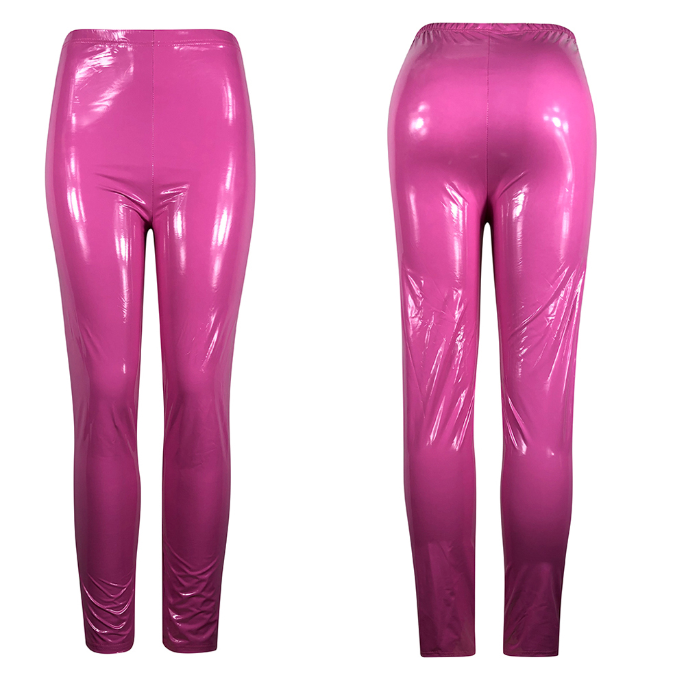 Hot Sexy Women Gothic Leggings Wet Look PU Leather Leggings Black Slim Thin Long Pants Ladies Skinny Leggings Stretchy Plus Size 21