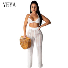 YEYA Two Pieces Sets See Through Jumpsuits Sexy Hollow Out Knitted Grid Playsuits Women Summer Eleagant Sleeveless Bodysuits