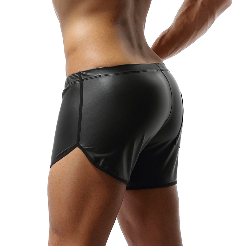 Faux Leather Sport Shiny Shorts Gyms Men Shorts Hot Pants With Back Pocket Fitness Men Clothes