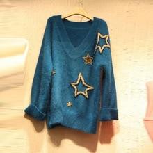 лучшая цена 2019 Autumn Sweater New Sweater Women V Star Horse Hair Cover Bottom Knitted Sweater V-Neck  Pullovers Women Sweaters