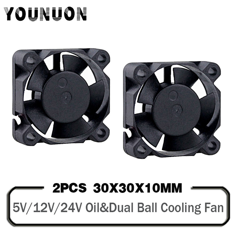 Вентилятор для 3D-принтера, 2 шт., 3010, 30 х30х10 мм, 3 см, 5 В, 12 В, 24 В