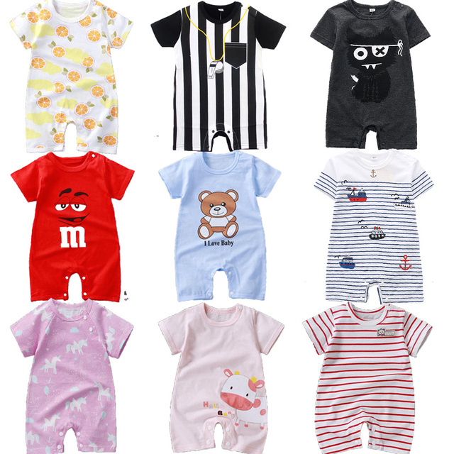 Striped Casual Clothes Themed Short Sleeve Summer Baby Romper 1