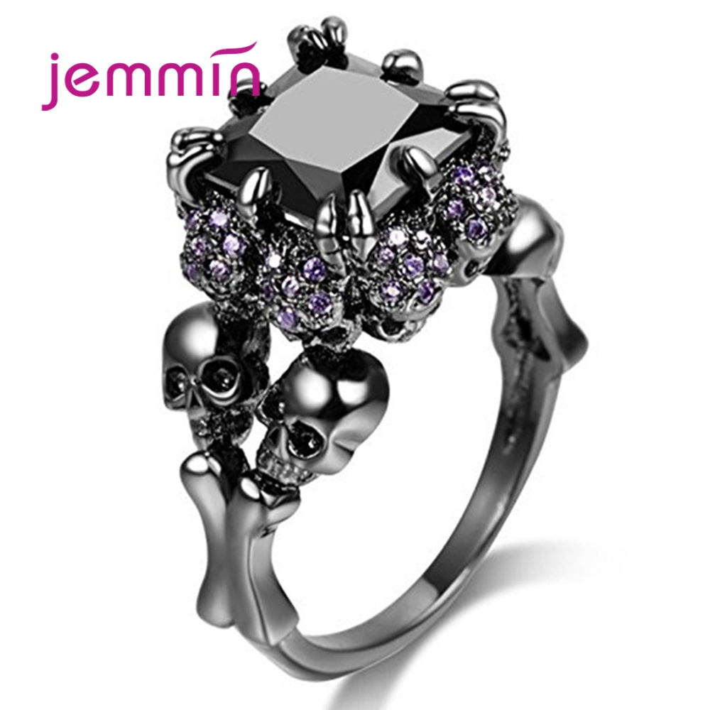 Rock Punk Black Gun Skull Rings 925 Sterling Silver Skeleton Bague For Women Men White Black Purple Cubic Zircon Halloween Gift