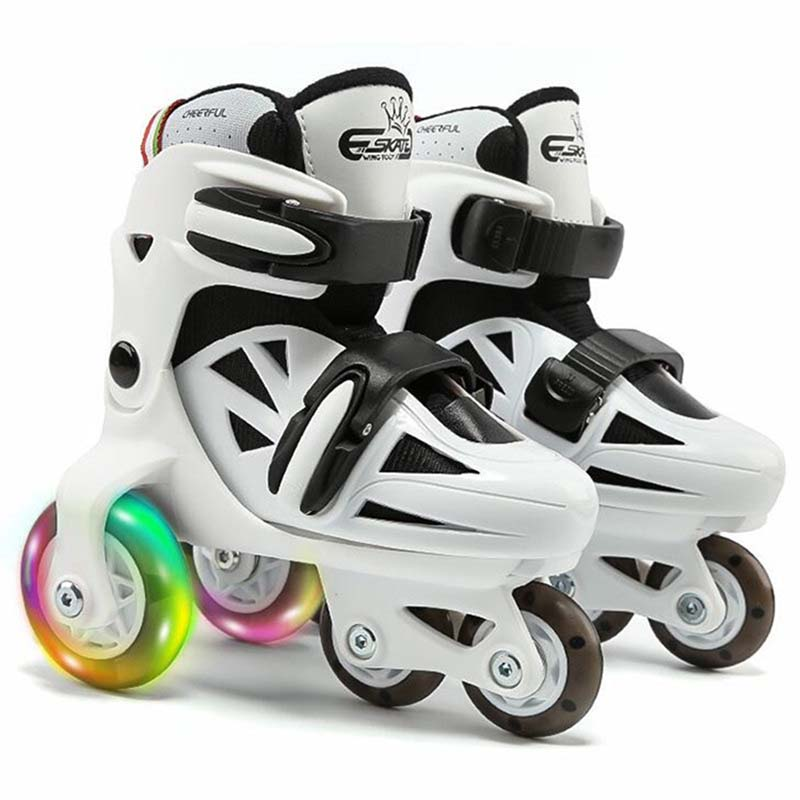 Double Line Roller Skates For Kids Adjustable 4-wheel Skates Shoes Professional PU Flashing Wheel Children Rollerblade Sneakers