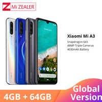 Globale Versione Xiao mi mi A3 mi A3 4GB 64GB Smartphone 4030mAh 6.088 Snapdragon 665 Octa core AMOLED Schermo 48MP 32MP Macchina Fotografica