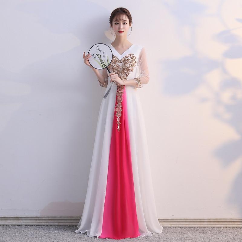 Vestido De Festa Cocktail Dress Banquet Evening Dress 2020 New Adult Dance Chorus Performance Show Thin Student Art Examination