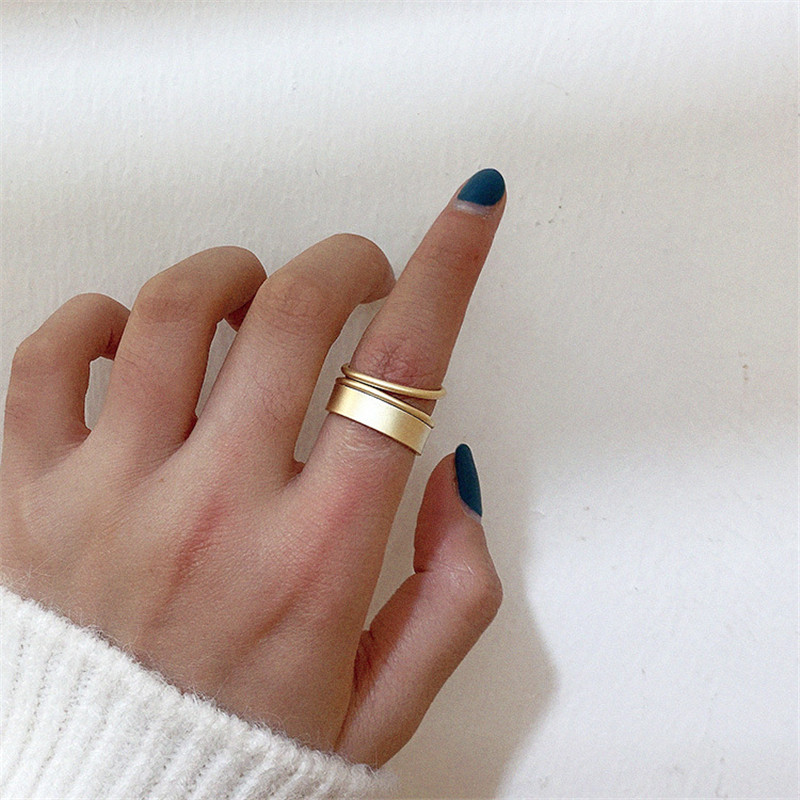 2019 New Fashion Korean Vintage Double-layer Metal Split Ring For Women Fashion Jewelry Female Engagement Rings