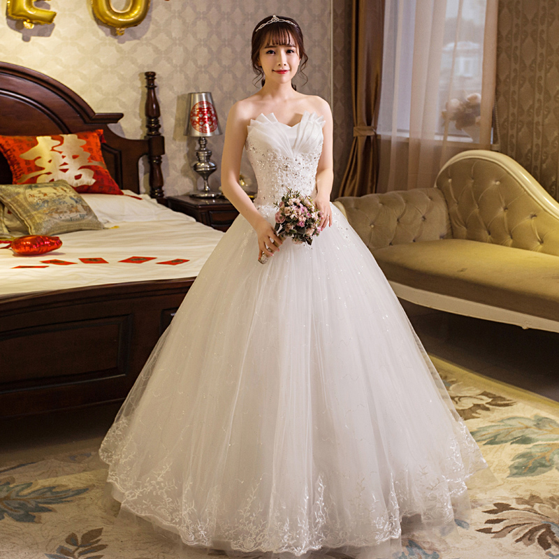 Wedding Dress Lace Up Flowers Style Simple Strapless Wedding Dresses Plus Size Ball Gowns