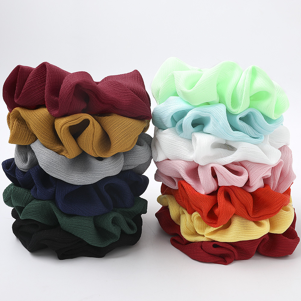 High Quality Luxury Hair Scrunchy For Lady Brand Designers Solid Color Hair Exesories Woman Fluffy Schrunchies For Sale