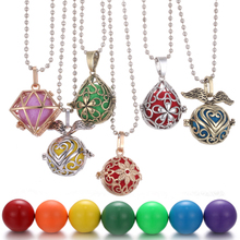 Mexico Chime Music Heart Flower Aromatherapy Necklace Vintage Pregnancy Aroma Essential Oil Diffuser Lockets Pendant