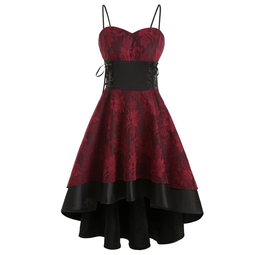 Womne Vintage High Grade Cami Bandage Lace Up Halloween Festival Strap Dress Women Party High Waist