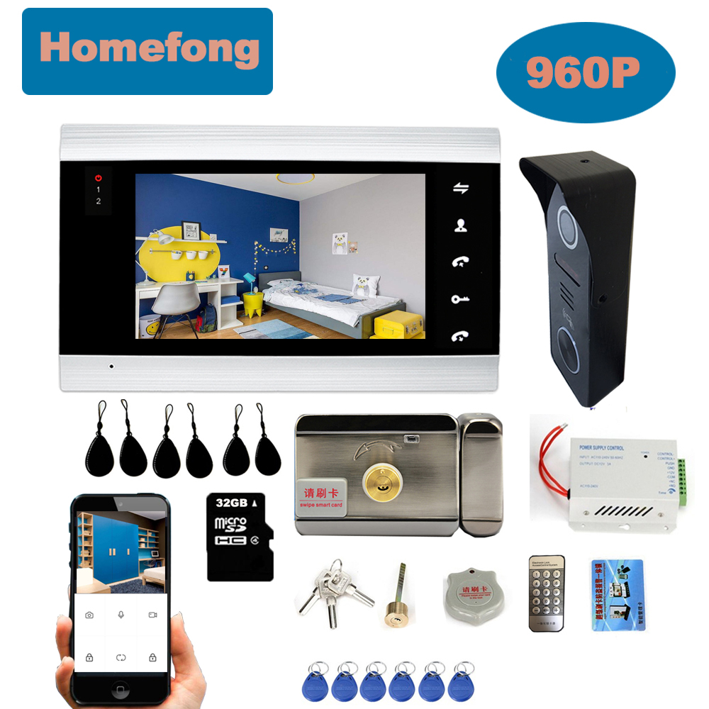 Homefong  7 Inch WiFi Video Door Phone Wireless Video Intercom For Home Security System  Moible Unlock Talk