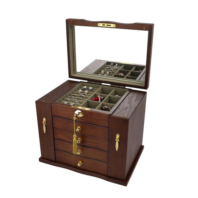 Jewelry Box with Lock Real Wooden Princess European Retro Multifunctional Collection Box Wedding Gift Box Storage