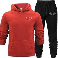 Bat Printed Men NewSet Causal PatchworkJacket 2Pcs Tracksuit Sportswear Hoodies Sweatshirt Pants Suit Hooded