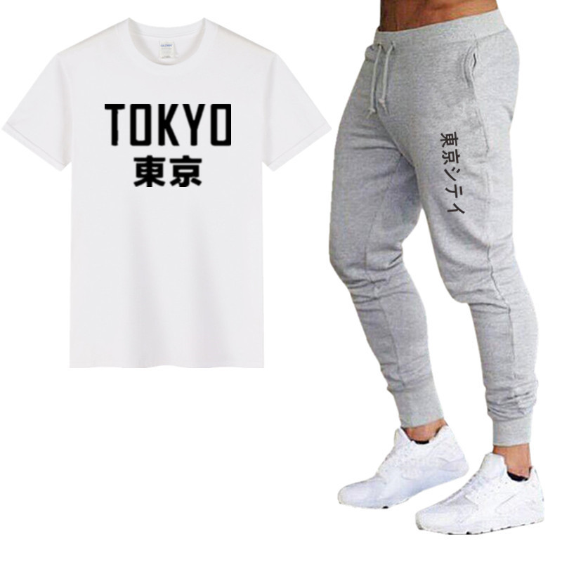 2020 Summer Hot Sale Men's Sets T Shirts Pants Two Pieces Sets Japanese Tokyo Casual Tracksuit Male Tshirt Gyms Fitness Trouser