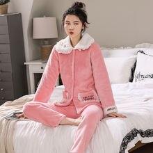 Теплая Фланелевая пижама voplidia для женщин с карманами и длинным