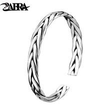 ZABRA pulsera abierta de plata de ley 999 trenzada para amantes, Unisex, joyería Retro para el Día de San Valentín