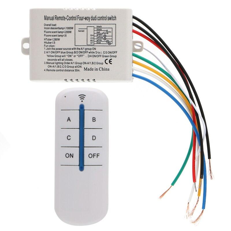 4 канала беспроводной вкл/выкл лампа пульт дистанционного управления переключатель приемник передатчик Новый