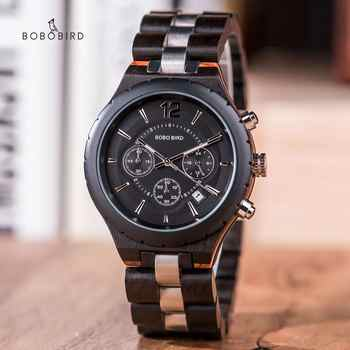 BOBO BIRD Wood Men\'s Watches 2020 Luxury Stopwatch Automatic Date Male Watch Business Clock Wooden Gift Box relogios masculino - DISCOUNT ITEM  38 OFF Watches