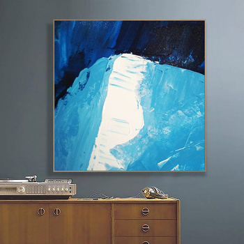 White Blue Painting Large Canvas Art Painting On Canvas White Painting Minimalism Acrylic Paintings Blue Painting Modern Wall