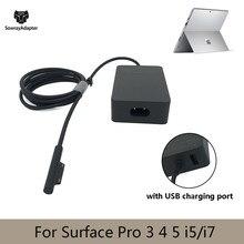44w 15v 2.58a tablet carregador adaptador de energia para microsoft surface pro 3 pro 4 pro 5 ( i5/i7) com porta de carregamento usb plug ue/eua