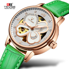 TEVISE Hollow Flower Women Automatic Skeleton Mechanical