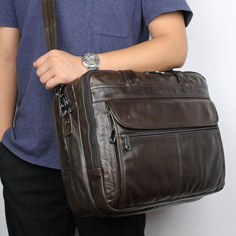 Luufan Grey Coffee Mens Genuine Leather Briefcase Shoulder Bag Double Zipper Men Busienss Laptop Bag 14 15 16 Inch Computer Bag