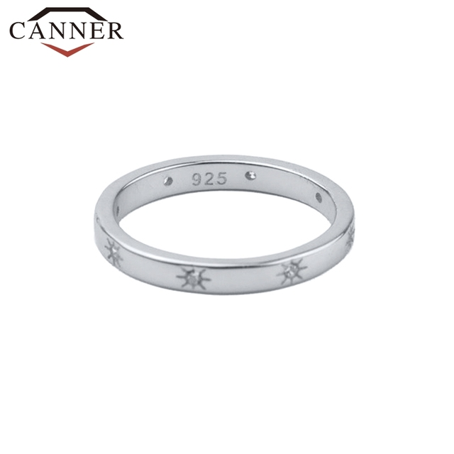 CANNER 925 Sterling Silver Rings for Women Cute Zircon Round Ring 925 Silver Wedding Fine Jewelry Minimalist Gift anillos 4