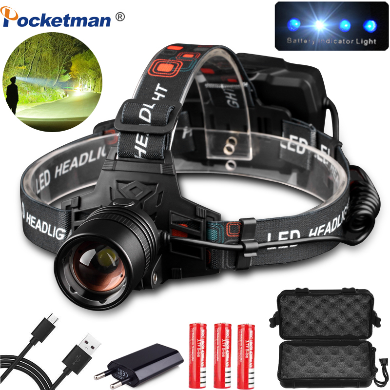 90000LM USB Rechargeable XHP50 Headlamp Headlight High Powerful Xhp70 Head Lamp Torch ZOOM Head Light Use 3*18650 Batteries