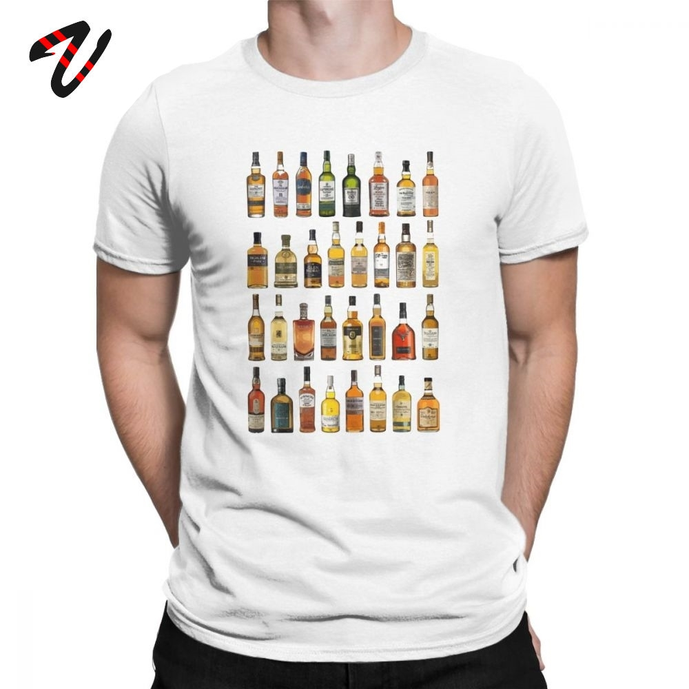 Men T Shirt Single Malt Whisky T-Shirt Whiskey Bottles Father Day Gift Oktoberfest Tops Clothes Cotton Tees Best Gift T Shirt