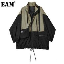 Женская куртка с воротником-стойкой EAM, свободная куртка контрастных цветов с длинными рукавами, весна-осень 2020, 1H058, большие размеры