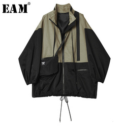 [EAM] Loose Fit Contrast Color Big Size Jacket New Stand Collar Long Sleeve Women Coat Fashion Tide Spring Autumn 2020 1H058