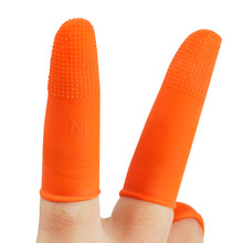 Free Shipping 100pcs Protective Antislip Fingertips Gloves Latex Rubber Finger Cots Antistatic Gloves Orange aidacom 100 pcs pack different types esd anti static conductive powder free antislip natural latex textured tip finger cots