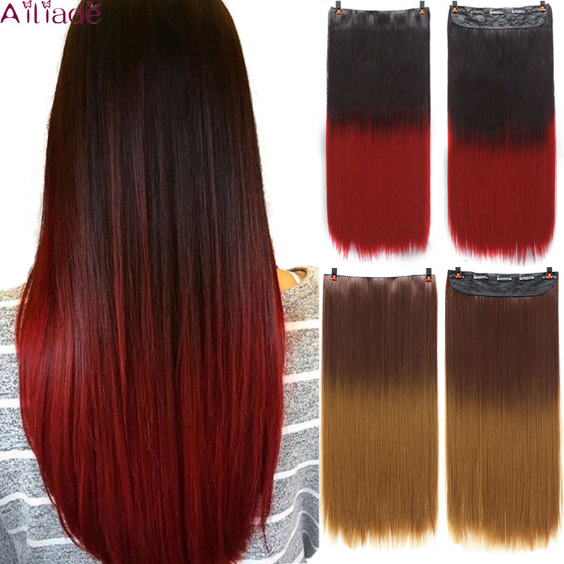 AILIADE Long Straight Clip In One Piece Synthetic Hair Extension 5 Clips False Omber Blonde Hair Brown Red Hair Pieces For Women