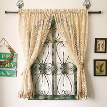 Free shipping Nordic pastoral crochet 100%cotton thread weaving lace window curtain partition curtain living room curtain LQ(China)