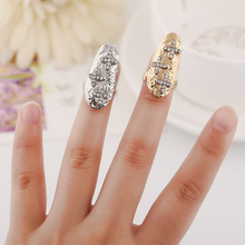 Jewellery Rings for Women Pride Nail Ring Crystal Anel Decorative Rhinestone Fingernail Protective Fashion Jewelry Anniversary graceful rhinestone faux crystal ring for women