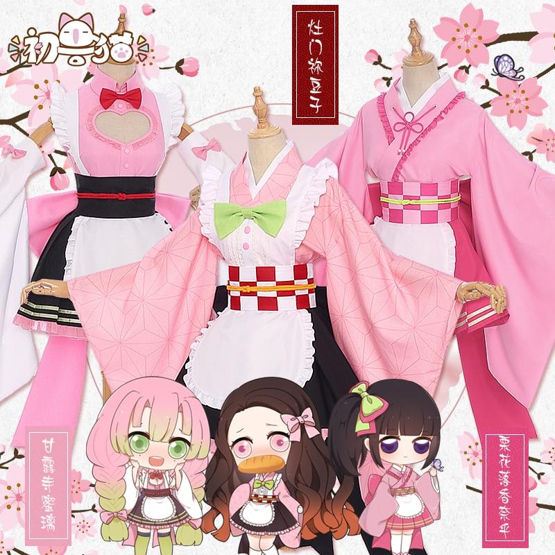 Demon Slayer Kochou Shinobu Kamado Nezuko Kanroji Mitsuri Kibutsuji Muzan Kimono Maid Uniforms Cosplay Costume Free Shipping F