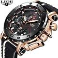 2019LIGE Neue Mode Herren Uhren Top-marke Luxus Große Zifferblatt Militär Quarzuhr Leder Wasserdichte Sport Chronograph Uhr Männer
