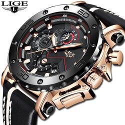 2019LIGE nowe mody mężczyzna zegarki Top marka luksusowe duże Dial wojskowy kwarcowy zegarek skórzany wodoodporny Sport chronograf mężczyźni w Zegarki kwarcowe od Zegarki na