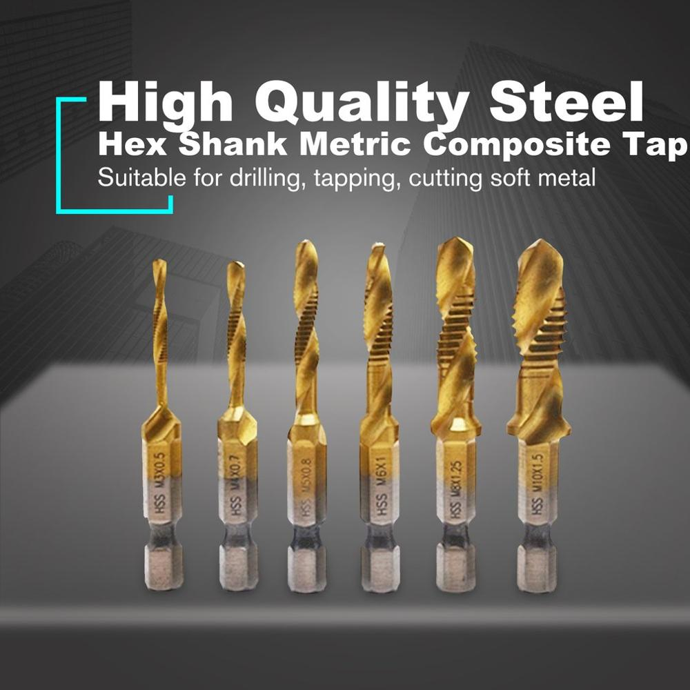 6pcs Hex Shank Metric 2-in-1 Composite Tap Set High Speed Steel Multi-function Composite Tap Hex Shank Drill Bits Set