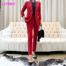 2019 new slim women's Korean temperament waist small suit jacket nine pants two-piece suit
