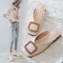 2020 New Women Pumps Slippers Slip on Mules Low Heel Casual Shoes British Wooden Block Heels women Summer Footwear