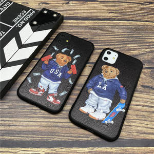 Luxury Italy Bear GG soft case for iphone 11 pro x xs max xr 8 76 6s plus SE 2 leather