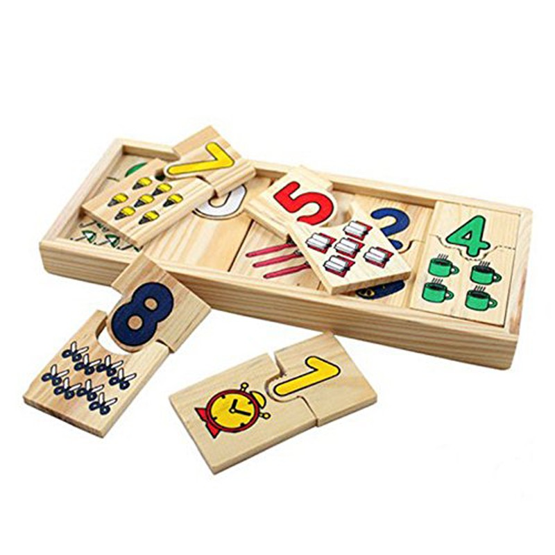 Digital Games Gifts Educational Wooden Toys for Children Math Puzzle Kids Teaching Logarithmic Matching Plate Board image