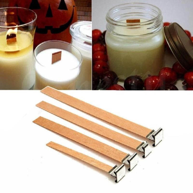 10Pcs Handmade Wooden Wood Wick Wax Candle Making Core Sustainers Tab DIY