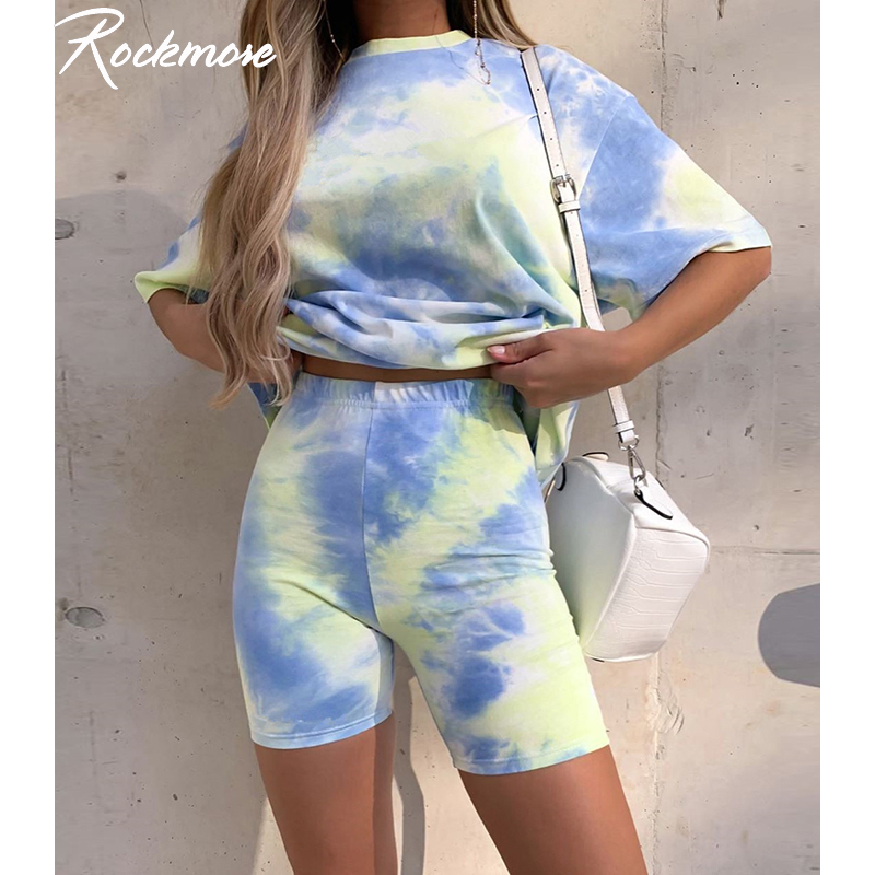 Rockmore Tie Dye Biker Shorts Women Skinny Cycling High Waist Shorts Fitness Sporting Short Pants Streetwear Sweatpants Ladies