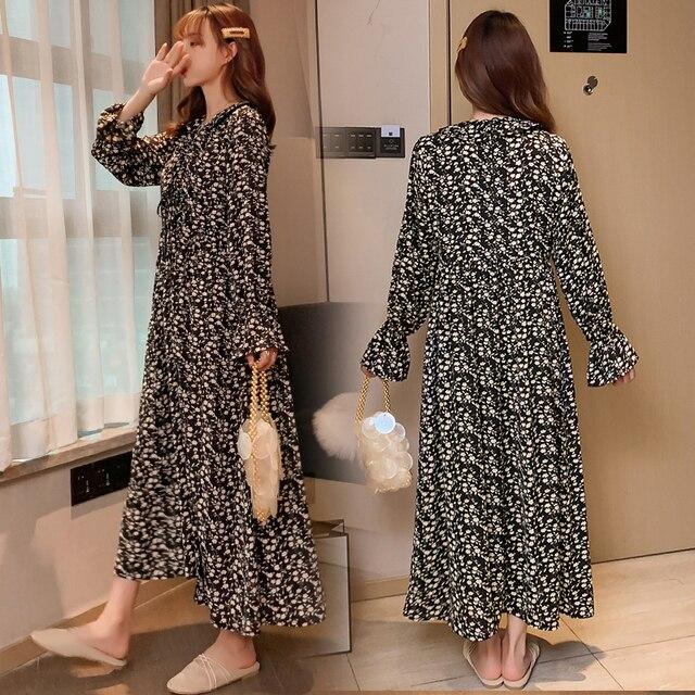 Maternity Plus Size Retro Floral Dress 4
