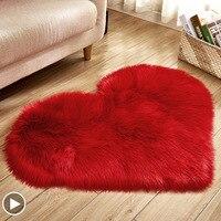 Shaggy quarto tapete nórdico coração tapetes para sala de estar cor sólida macio casa decorar moderno longo pelúcia aartificial peles|Tapete| |  -