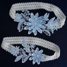 Garter-Belt Wedding-Prom Womens Lace Flower Stretch Sky-Blue Thigh-Rings-Set Patchwork