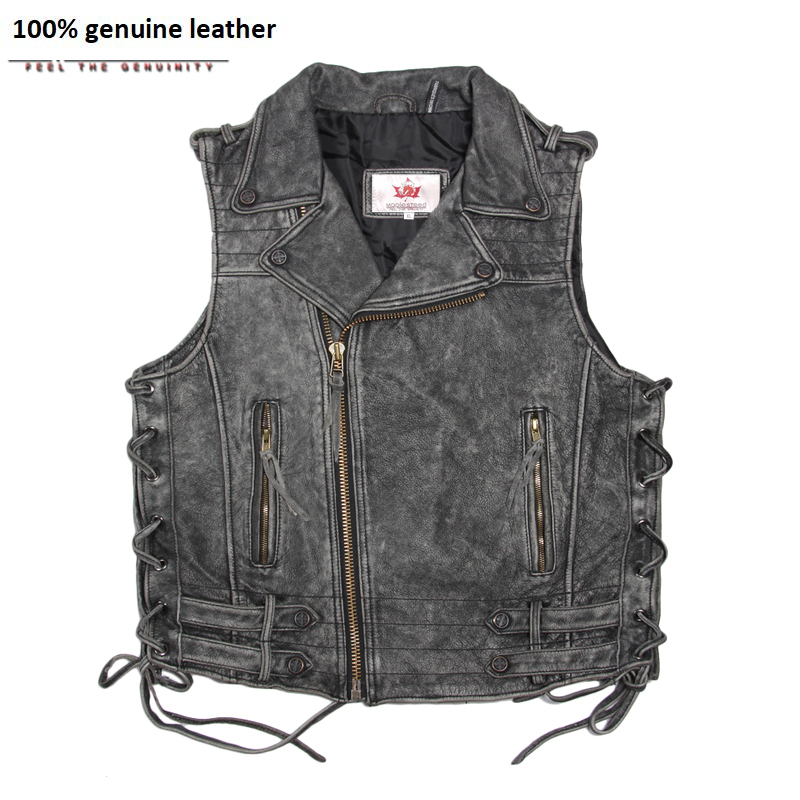Cowhide Genuine Leather Vest Men Motorcycle Vest Vintage Moto Biker Vest Red Black Mens Waistcoat Plus Size 5XL 051